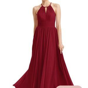 Burgundy Chiffon floor-length maxi dress